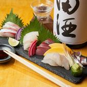 うまい日本酒にはやっぱりこれ!全国の市場から毎日仕入れる『お刺身五点盛り』