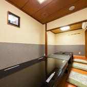各種宴会に重宝する、広々とした座敷席の個室