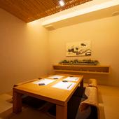 5名様までの入室可能。掘りごたつ式の完全個室