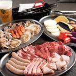 国産牛ロースや仔羊ラムチョップ、「田原豚」「奥三河鶏」といった厳選国産素材を盛り合わせたお肉プレートに、ワンランク上の魚介プレート、旬の野菜プレートがひとつに。豪華食材満載のイチオシセットです。