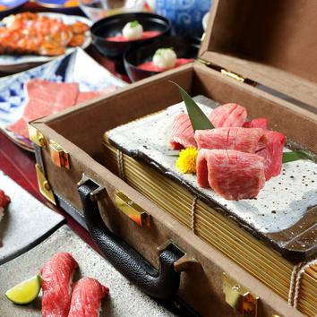 【お料理のみ・肉寿司、ロース、すき焼き等11品】肉の匠コース