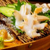 他ではなかなかお目にかからない白バイ貝のおいしさを刺身で堪能『白バイ貝のお造り』
