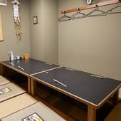 7~8名で使える掘りごたつの個室も完備