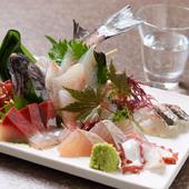 地元の漁港から直接買い付けた旬魚を贅沢に堪能できる『刺身盛り合わせ5種』
