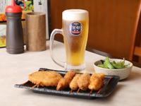 おまかせの串揚げを5種、ほどよく楽しめる、ほろ酔いの『生ビールセット』
