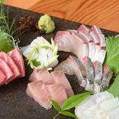 身の引き締まった、姫路の旬の鮮魚を存分に味わえる『お造り盛り合わせ』