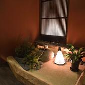 店内のミニ庭園に心癒される、安らぎの空間