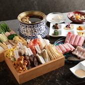 キノコ、お肉、野菜をバランスよく食せる『昭君黒湯コース』