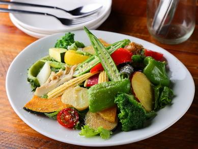 契約農家より入荷する無農薬野菜をたっぷりと。『20種彩り野菜のサラダ 』