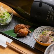 野菜、魚、肉と様々な県内産の食材を活かしたお酒が進む3点盛りのお通しです。