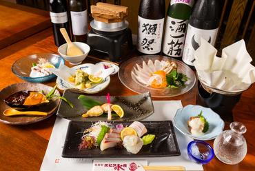 季節のお鍋に刺身、焼き魚、一品料理、釜めしなど全9品が彩り豊かに『エビス水産 お手軽 会席コース』
