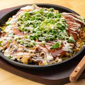 """中華麺の""""カリッ""""とした食感が楽しめる『広島風お好み焼き』"""