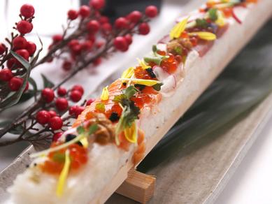 彩り海鮮押し寿司