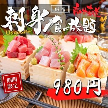 【大奮発!!】980円刺身食べ放題プラン 2時間制