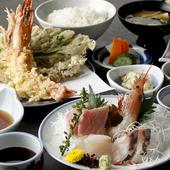 旬のお刺身と季節の天麩羅が同時に楽しめる定食もご用意してます
