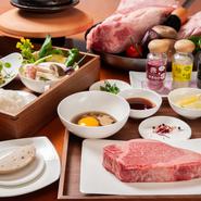 世界屈指の最高級滋賀県産A5近江牛のフィレ肉の最高級部位とトルネードを贅沢に石焼でお楽しみ頂けます。夕日ヶ浦から汲み上げた海水の塩は粒が粗めでほのかなにごりの香りが、食材の風味を引き立てます。