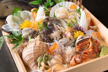 季節の貝を満喫!『活け貝のお刺身 5点盛り』