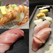 鮨職人でもある板長が目利きした、その日一番の鮮魚を使用した絶品の寿司コースです。