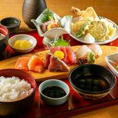 お造りから、てんぷらまで和食の王道を味わえる『やまびこ御膳』